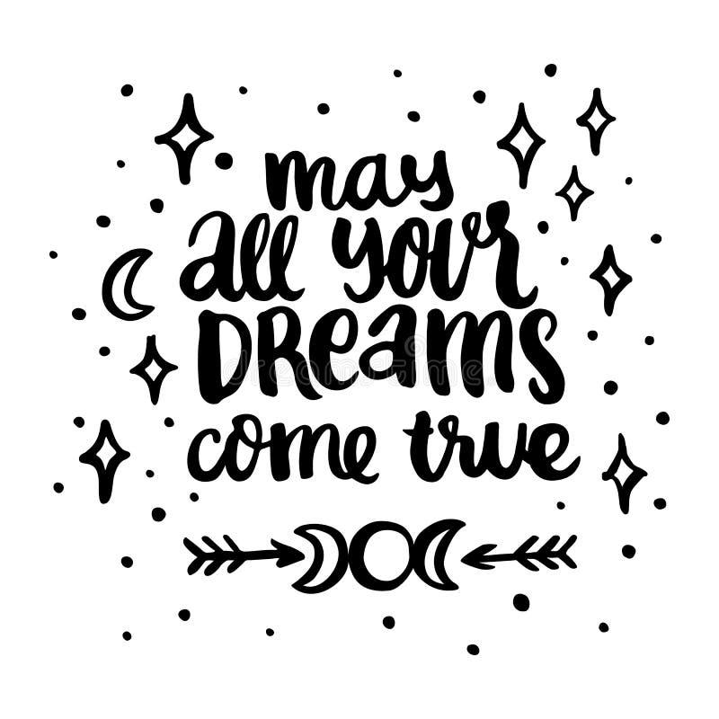 O cartão desenhado à mão com ` maio da inscrição todos seus sonhos vem verdadeiro ` ilustração do vetor