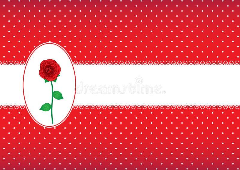 O cartão do às bolinhas com aumentou ilustração stock