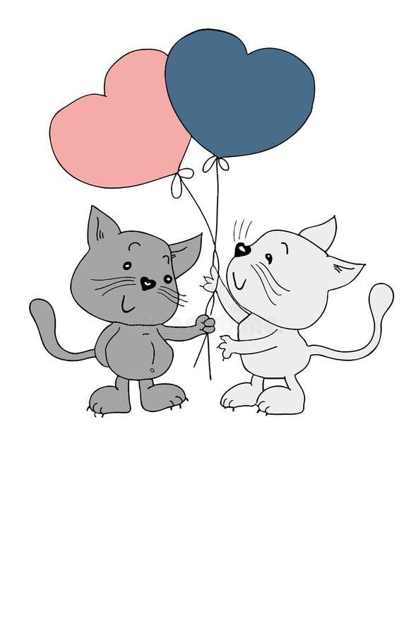 O cartão do anúncio do casamento com dois gatos e o coração deram forma a balões, ilustração desenhado à mão engraçada ilustração royalty free