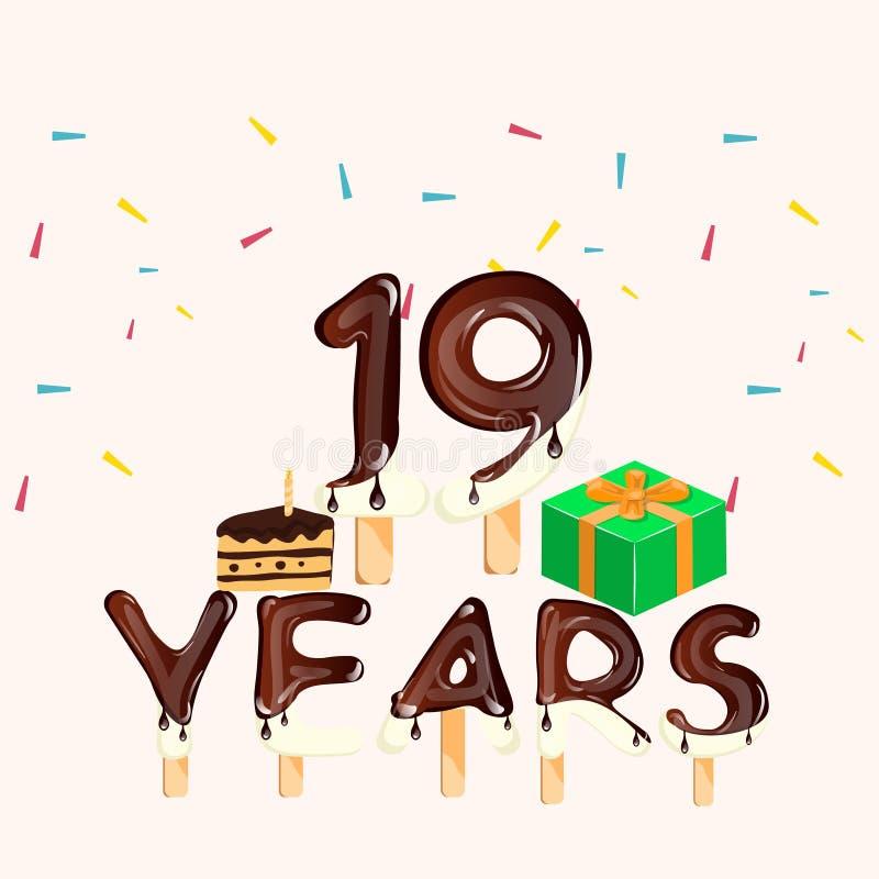 19o cartão do aniversário dos anos Feliz aniversario ilustração stock