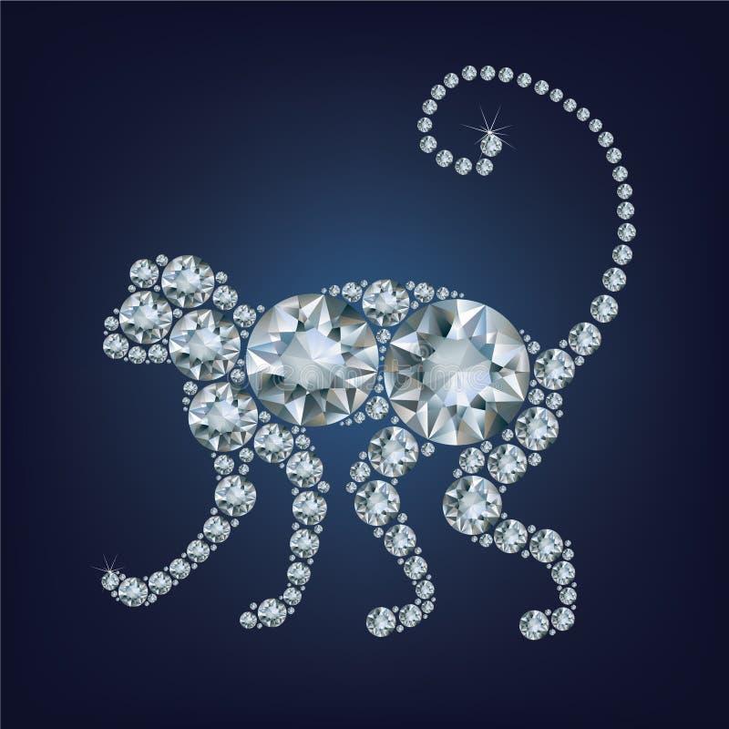 o cartão do ano 2016 novo com macaco compôs muitos diamantes ilustração do vetor