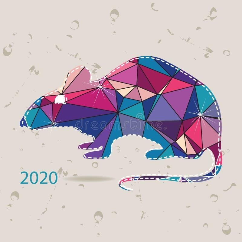 O cartão do ano 2020 novo com o rato feito dos triângulos ilustração royalty free