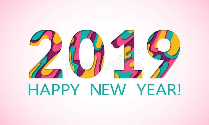 O cartão do ano 2019 novo feliz com papel fluido cortou o fundo das formas Azul cor-de-rosa 3D que cinzela o vetor da arte numbe  ilustração royalty free