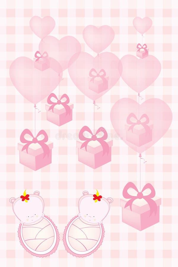 O cartão do convite da festa do bebê para bebês gêmeos vector a ilustração ilustração do vetor