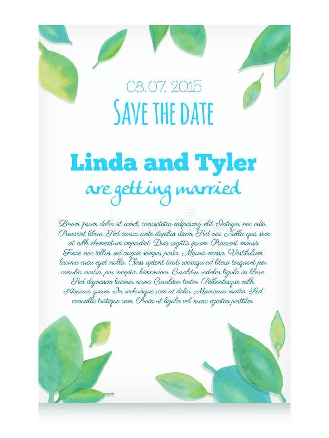 O cartão do convite do vetor com mão verde a aquarela tirada sae ilustração stock