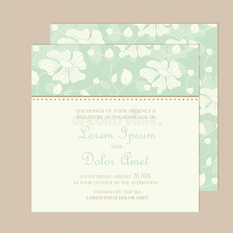 O cartão do convite ou do anúncio do casamento com a mão bonita tirada floresce ilustração stock