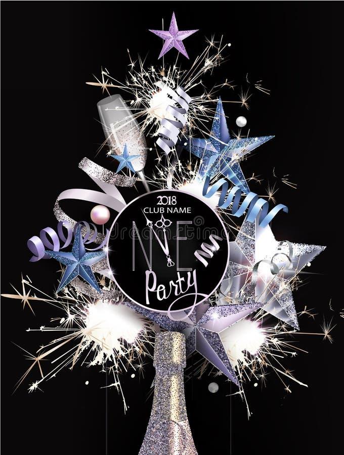 O cartão do convite do partido do ano novo com objetos da decoração do Natal arranjou na forma da árvore de Natal ilustração stock