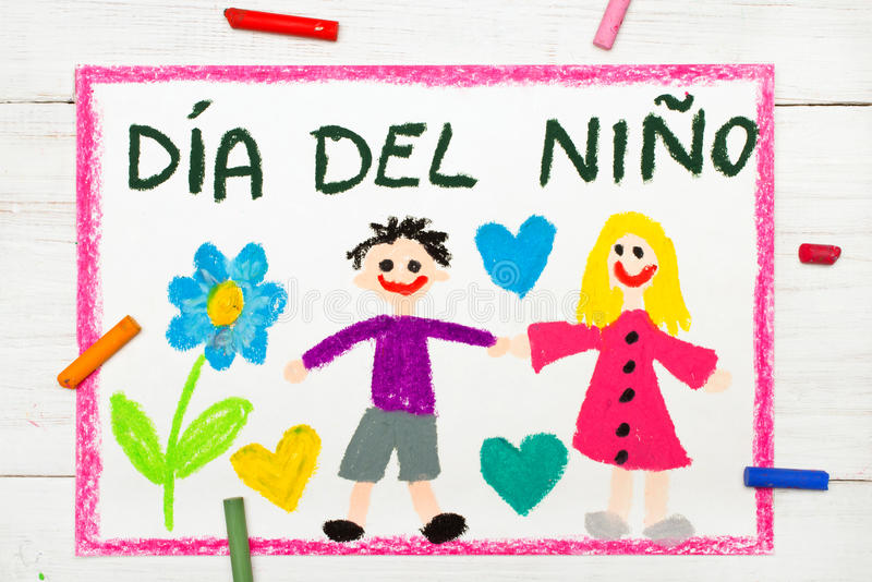 O cartão do dia do ` s das crianças com espanhol exprime o dia do ` s das crianças ilustração royalty free