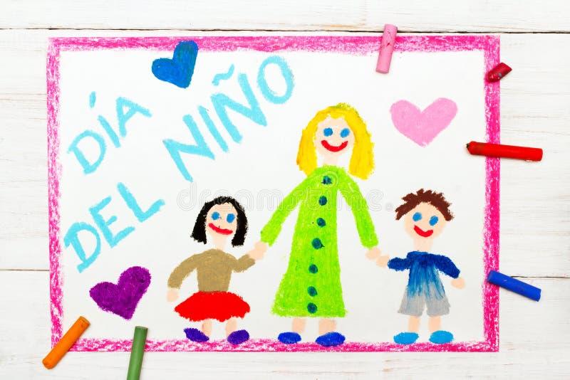O cartão do dia do ` s das crianças com espanhol exprime o dia do ` s das crianças ilustração do vetor