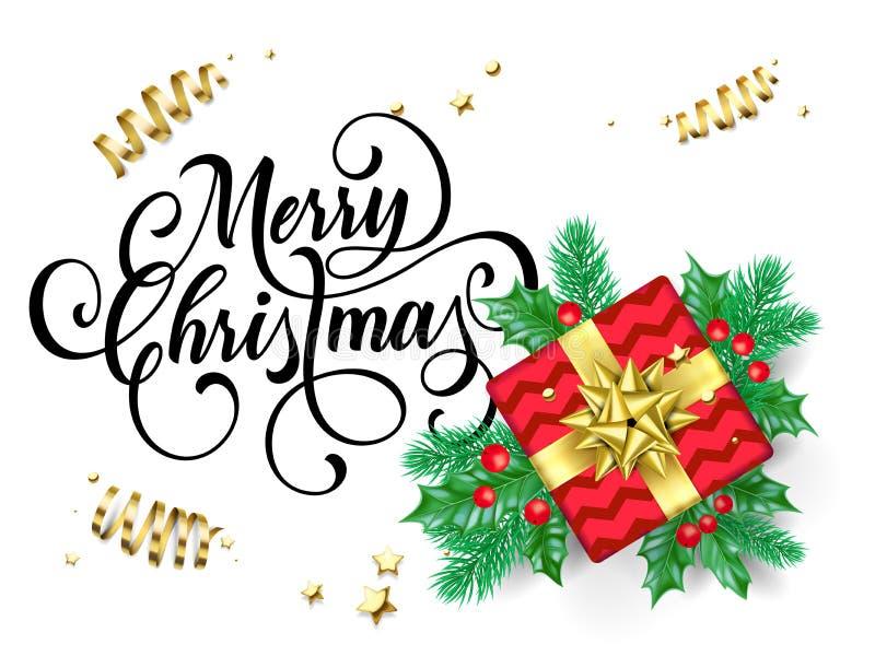 O cartão do Feliz Natal da caixa de presente e a fita dourada curvam-se no fundo dos confetes do brilho da folha ou do ouro do az ilustração do vetor