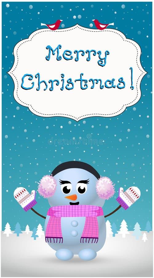 O cartão do Feliz Natal da menina bonito do boneco de neve dos desenhos animados na orelha falha ilustração royalty free