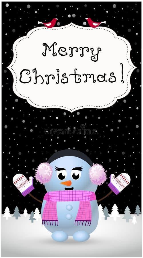 O cartão do Feliz Natal da menina bonito do boneco de neve na orelha falha ilustração royalty free