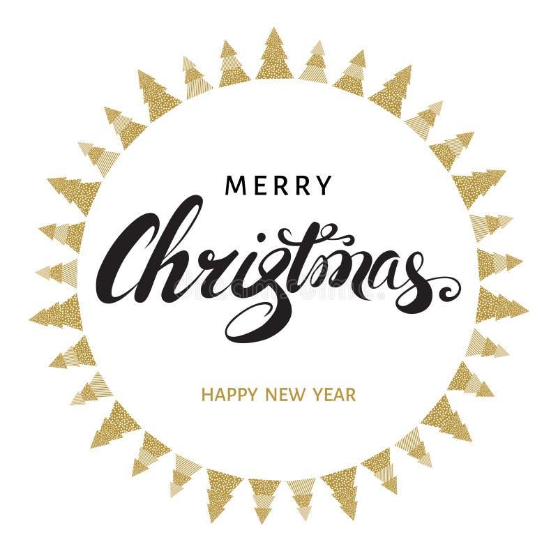 O cartão do Feliz Natal e do ano novo feliz com mão deixou ilustração stock
