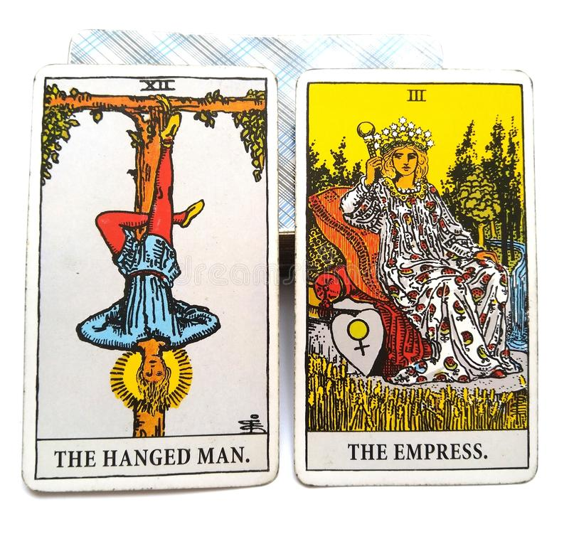 O cartão do nascimento do tarô pendurou o homem/imperatriz ilustração royalty free