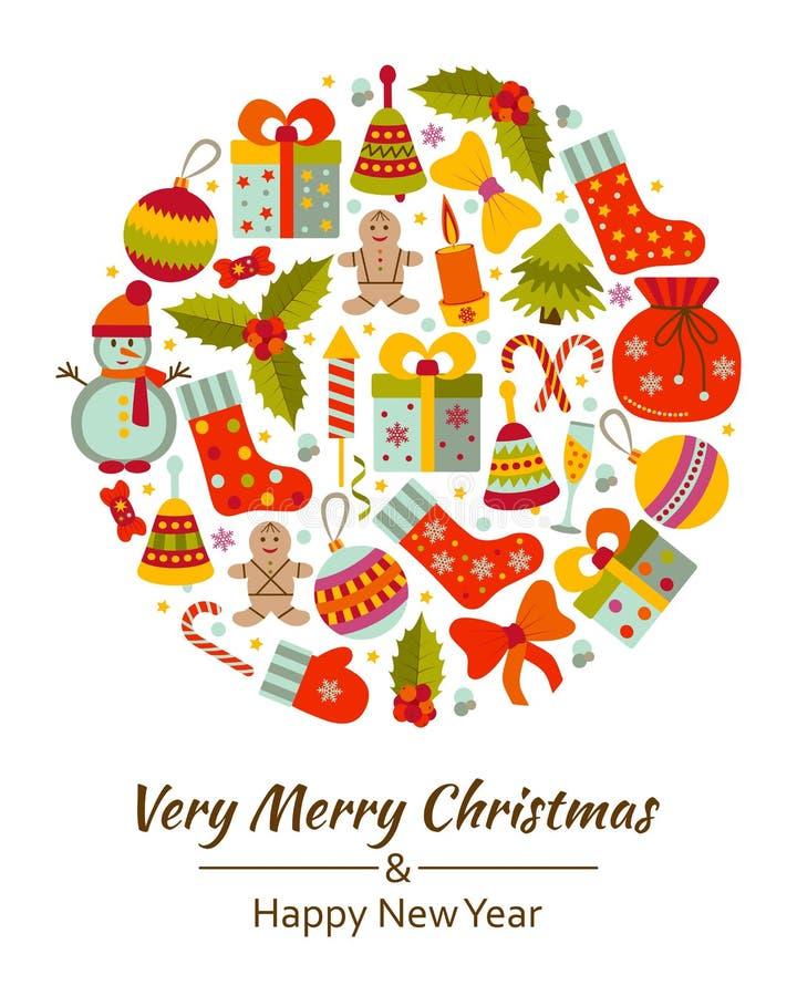 O cartão do Natal com Xmas alegre do texto e muito inverno rabisca brinquedos ilustração royalty free