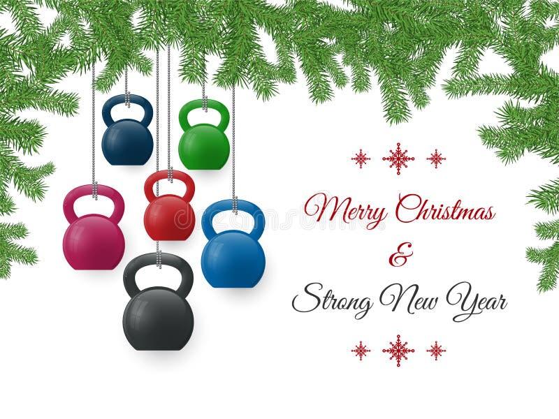 O cartão do Natal e do ano novo com kettlebells e pinho ramifica imagens de stock