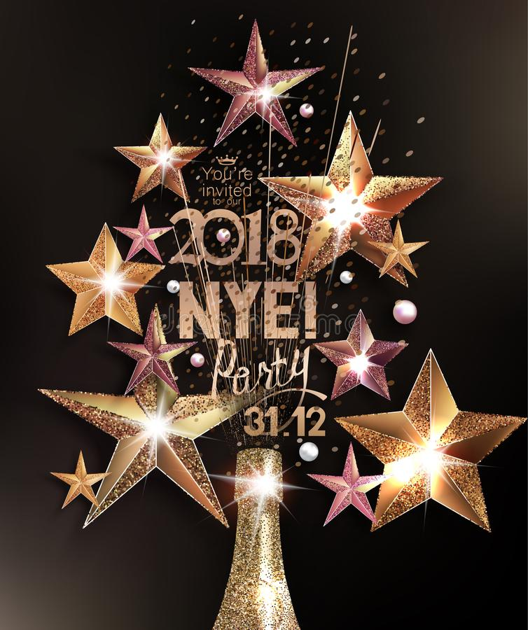 O cartão do partido da véspera de ano novo com estrelas efervescentes e garrafa do champanhe arranjou na forma da árvore de Natal ilustração royalty free
