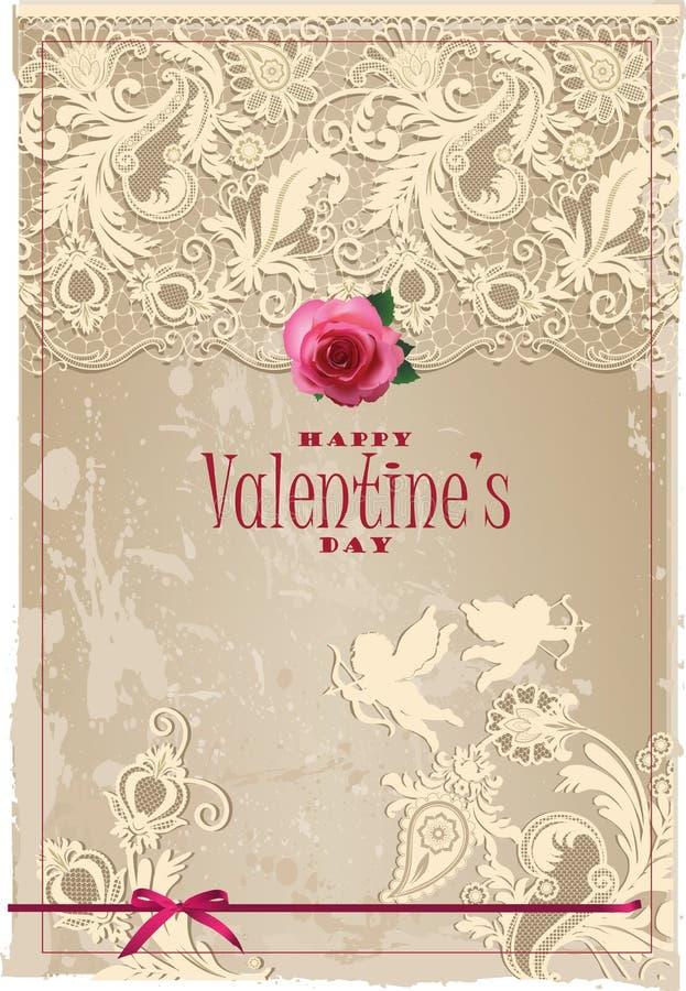 O cartão do Valentim com laço ilustração royalty free