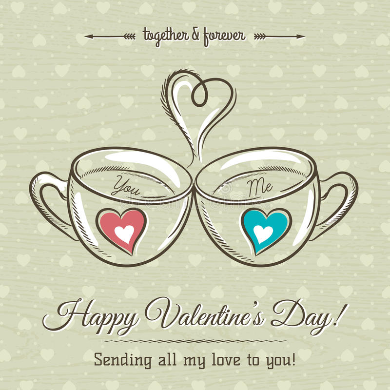 O cartão do Valentim com os dois copos da bebida quente e os desejos text ilustração royalty free