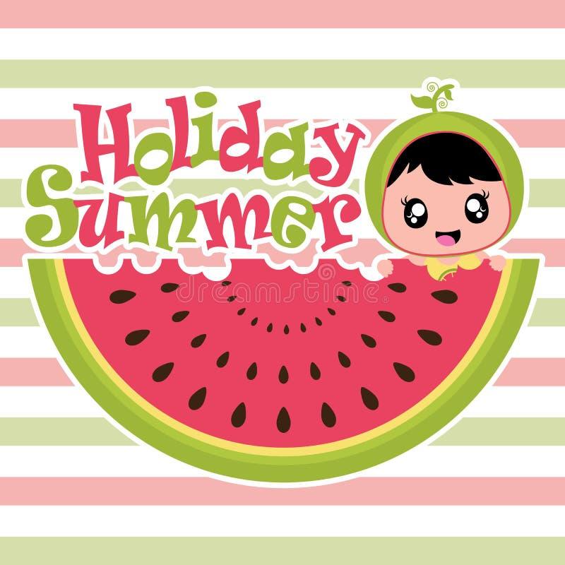 O cartão do verão com menina bonito come desenhos animados do vetor do fruto da melancia ilustração stock