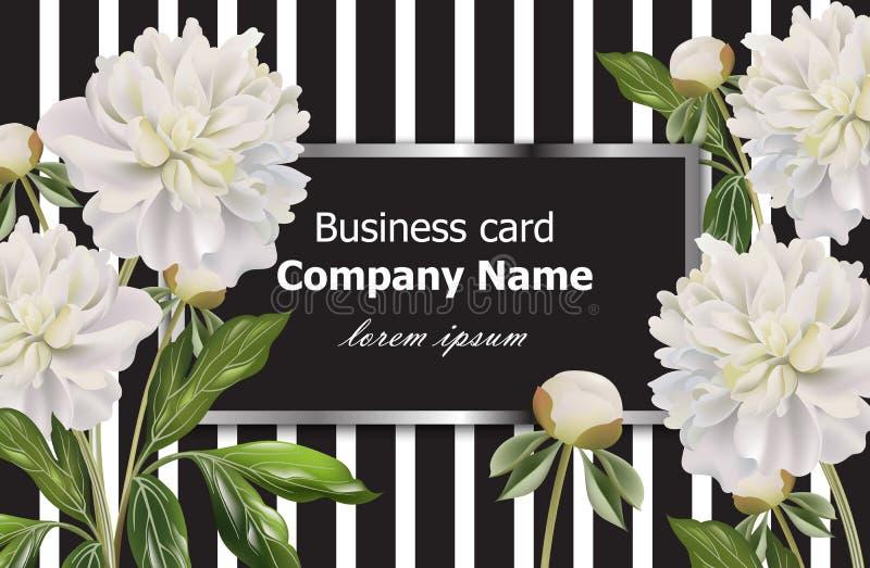 O cartão do vintage com peônia branca floresce em fundo listrado Decoração floral realística do vetor, ilustrações 3d ilustração royalty free