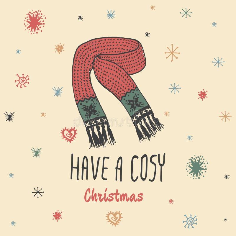 O cartão do vintage do Natal com com o lenço feito malha tirado mão e o texto 'têm um Natal confortável' ilustração royalty free