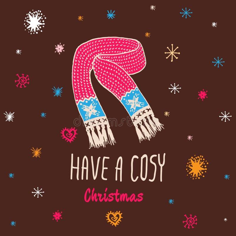 O cartão do vintage do Natal com com o lenço feito malha tirado mão e o texto 'têm um Natal confortável' ilustração stock