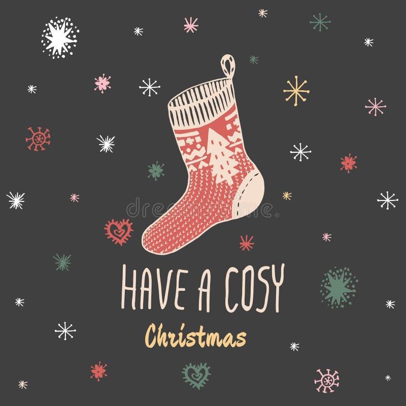 O cartão do vintage do Natal com com a peúga feita malha tirada mão e o texto 'têm um Natal confortável' ilustração do vetor