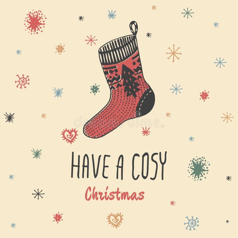 O cartão do vintage do Natal com com a peúga feita malha tirada mão e o texto 'têm um Natal confortável' ilustração royalty free