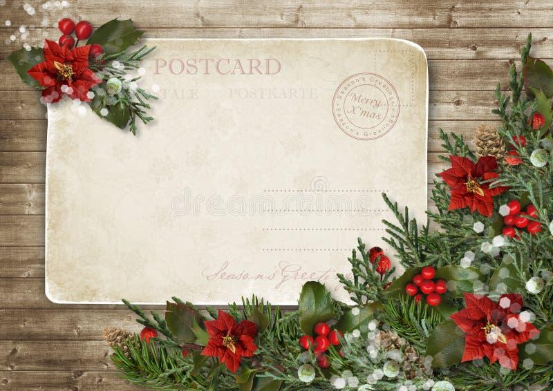 O cartão do vintage do Natal com poinsétia, azevinho e abeto ramifica ilustração stock