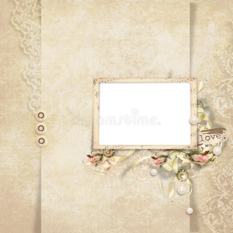 O cartão do vintage para o feriado com frame e levantou-se ilustração royalty free