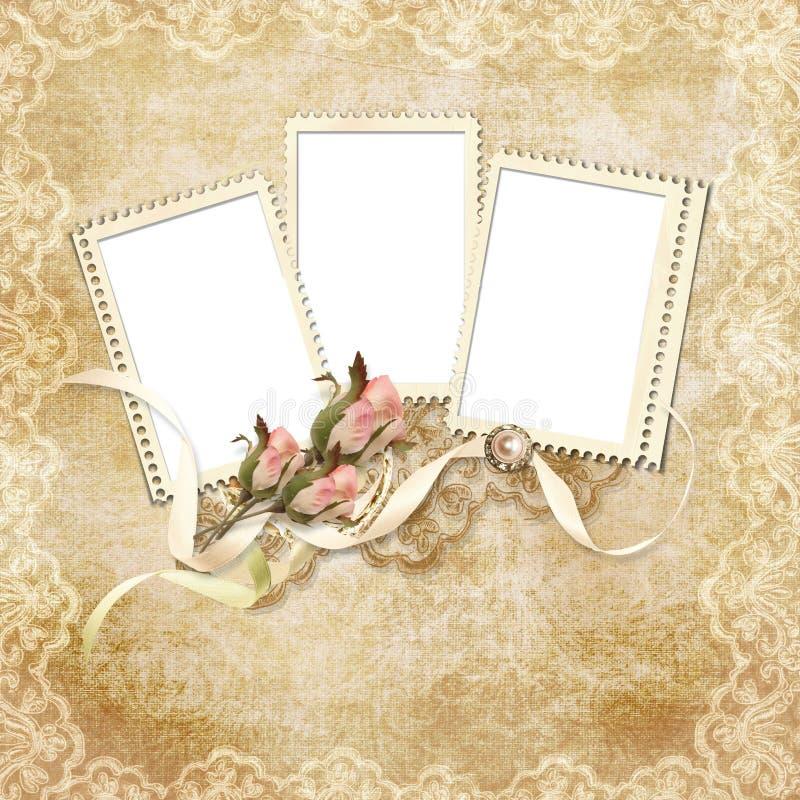 O cartão do vintage para o feriado com frame e levantou-se ilustração do vetor