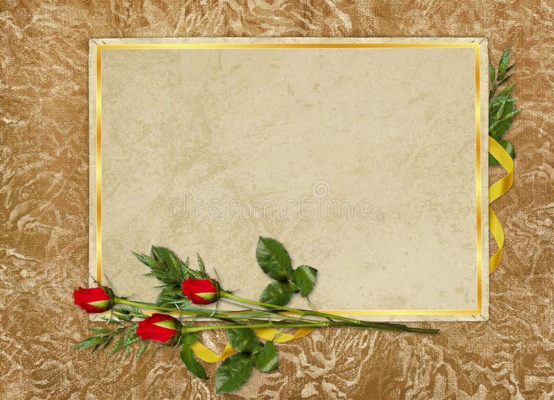 O cartão do vintage para o feriado com vermelho levantou-se ilustração stock