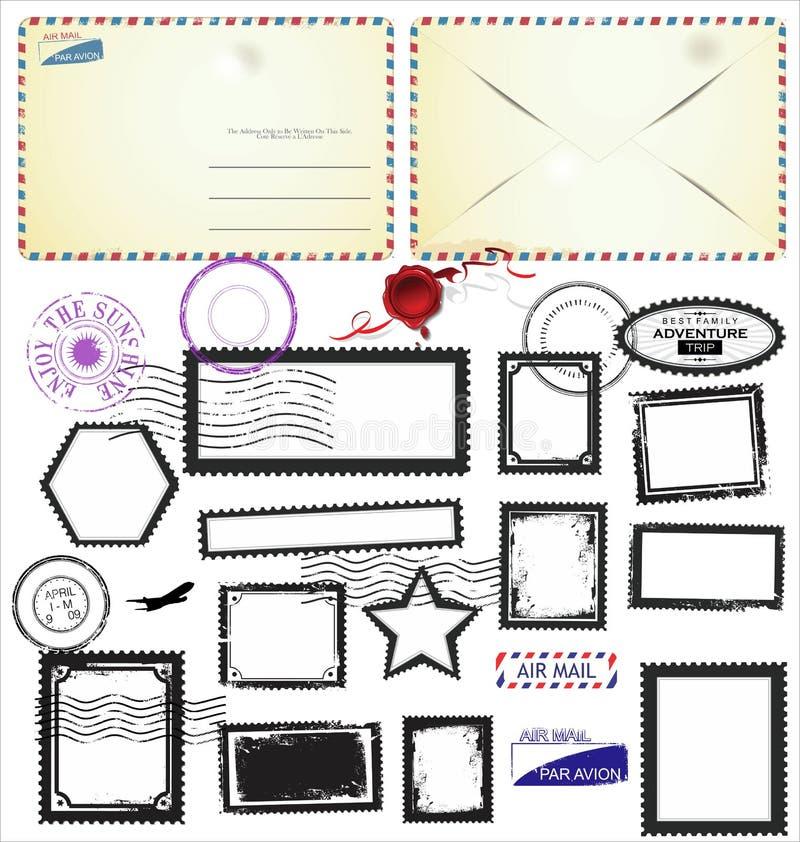 O cartão do vintage projeta envelopes e selos do preto ilustração stock