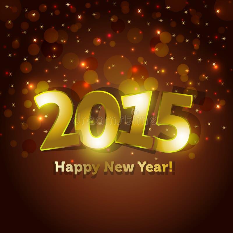 O cartão dourado do ano 2015 novo feliz com brilho do ponto ilumina o fundo ilustração stock