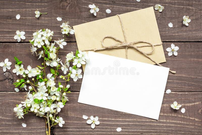 O cartão e o envelope brancos vazios com a cereja de florescência da mola ramificam fotografia de stock