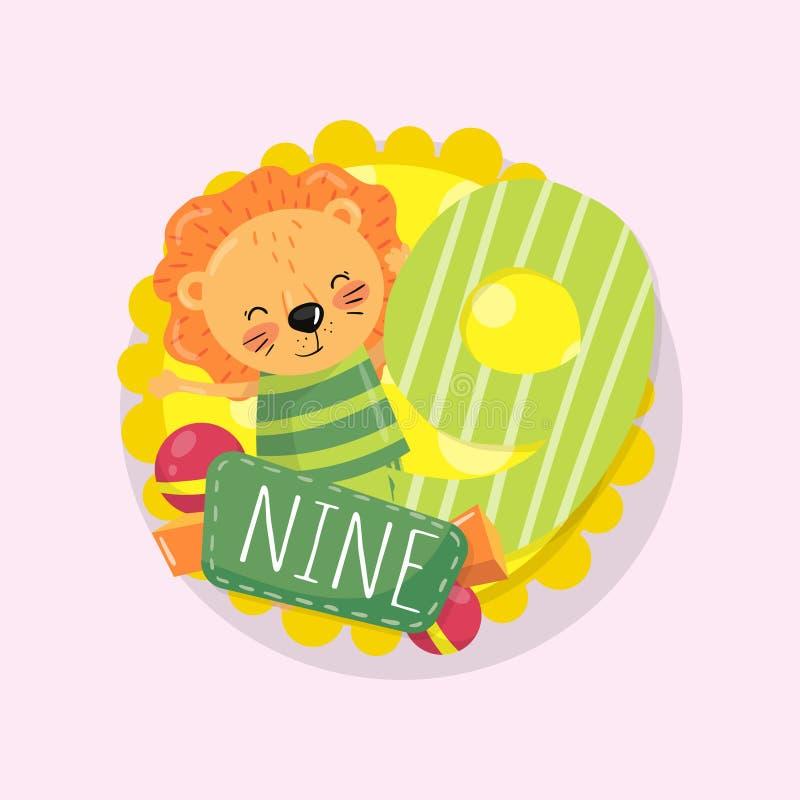 O cartão educacional colorido das crianças s com o leão de sorriso pequeno e numera 9 nove Aprenda contar Vetor liso dos desenhos ilustração do vetor