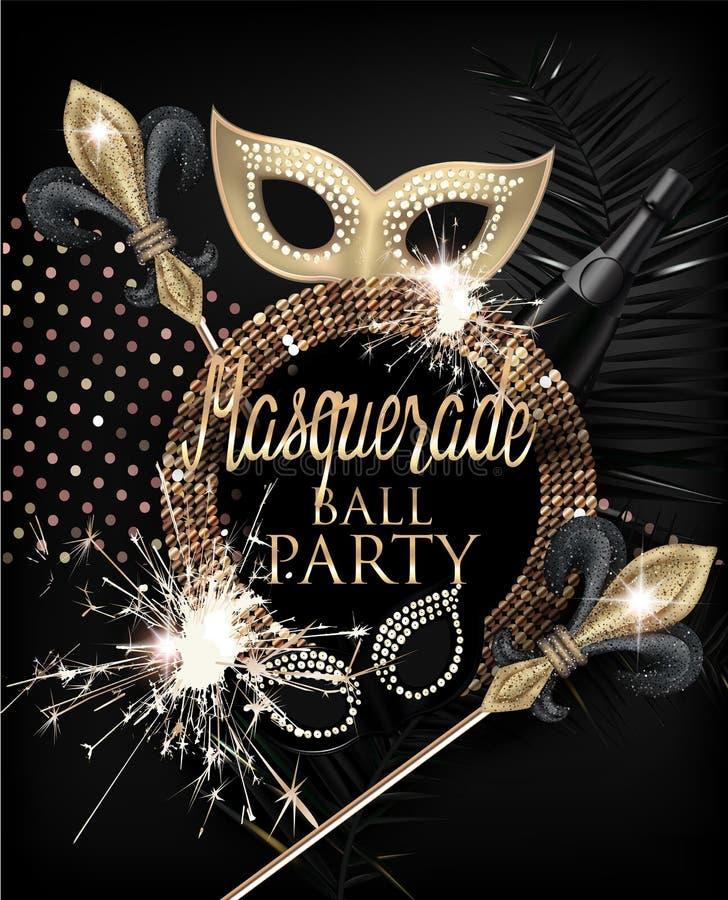 O cartão elegante do convite do partido do disfarce com deco do disfarce objeta e chuveirinhos Ouro e preto ilustração royalty free