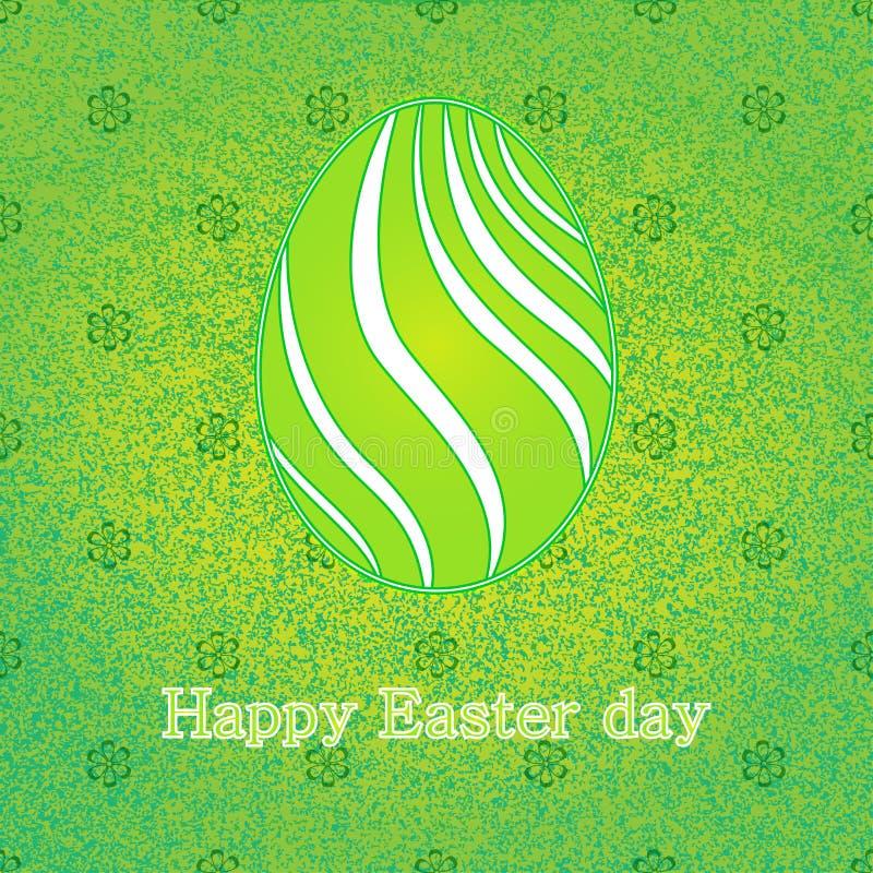 O cartão feliz da celebração da Páscoa com projeto verde decorou o ovo da páscoa Fundo decorativo floral Ilustração do vetor ilustração do vetor
