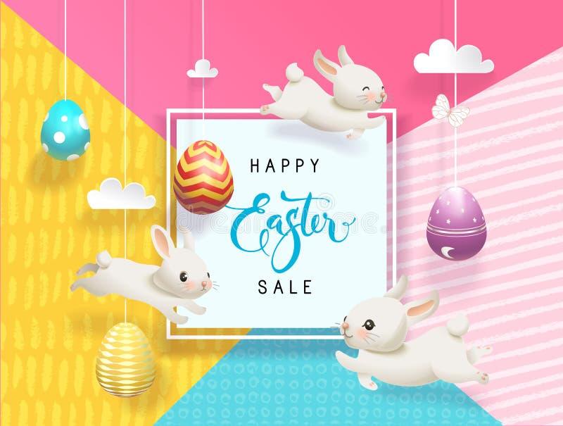 O cartão feliz da venda da Páscoa decorou os ovos que penduram no fundo abstrato das cordas, coelhos pequenos engraçados, quadro  ilustração stock