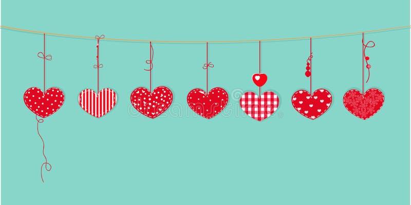 O cartão feliz do dia de Valentim com o projeto da beira que pendura corações vermelhos vector o fundo ilustração do vetor