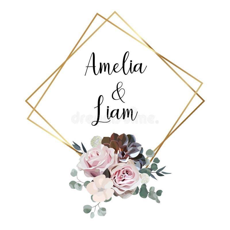 O cartão floral do convite do casamento com aumentou, algodão, planta carnuda, folhas do eucalypyus no estilo da aquarela foto de stock royalty free