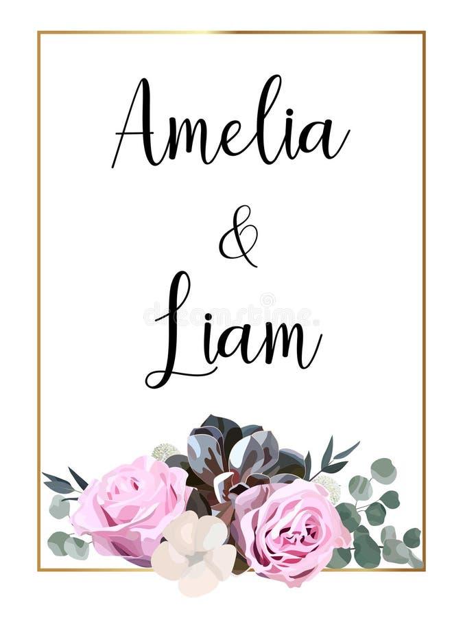 O cartão floral do convite do casamento com aumentou, algodão, planta carnuda, folhas do eucalypyus no estilo da aquarela fotos de stock royalty free