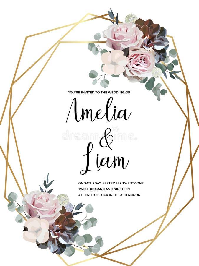 O cartão floral do convite do casamento com aumentou, algodão, planta carnuda, folhas do eucalypyus no estilo da aquarela imagens de stock royalty free