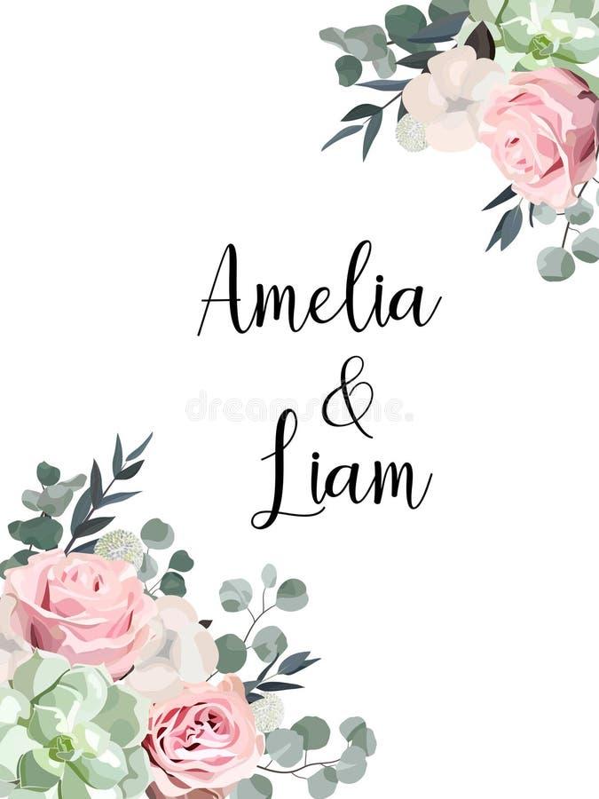 O cartão floral do convite do casamento com erva, aumentou, algodão, planta carnuda, eucalypyus sae no estilo da aquarela fotos de stock