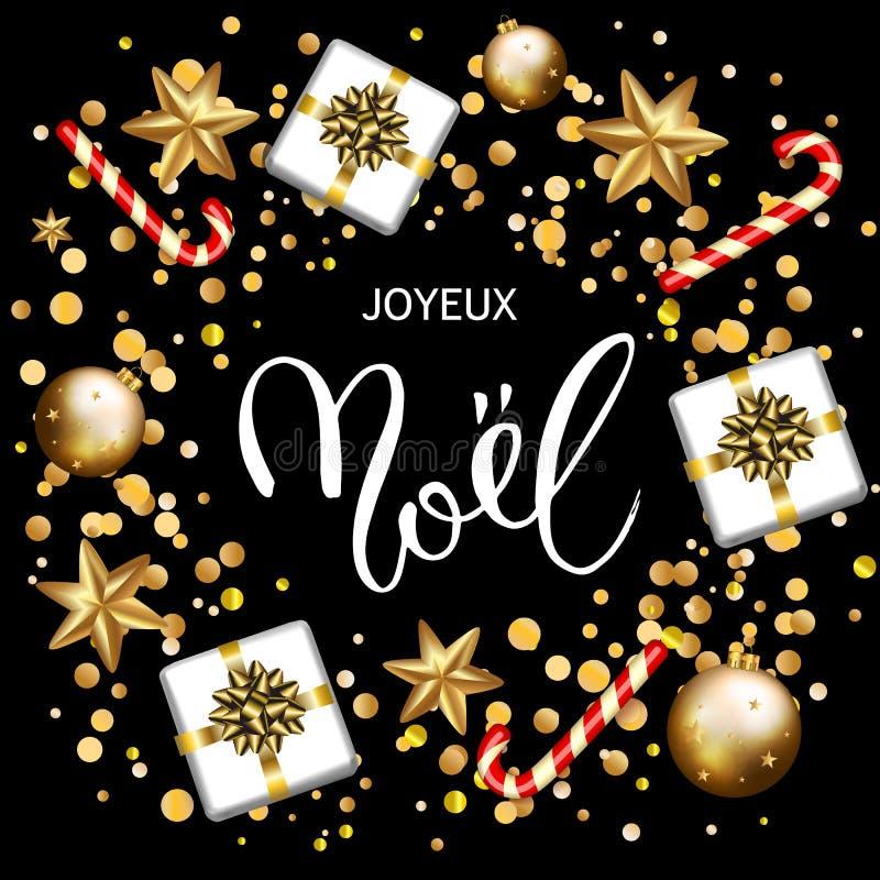O cartão francês de Joyeux Noel do Feliz Natal com presentes, pode ilustração do vetor