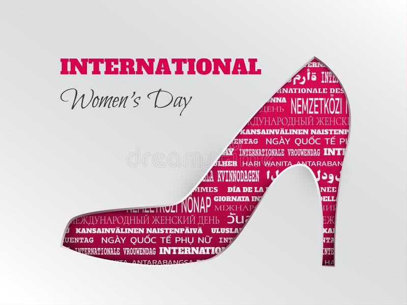 O cartão internacional do dia do ` s das mulheres com rosa cuted a sapata com a nuvem da palavra em línguas diferentes ilustração do vetor