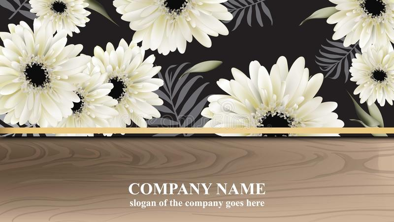 O cartão luxuoso com margarida de Gerber floresce a ilustração do vetor Fundos de madeira abstratos ilustração do vetor