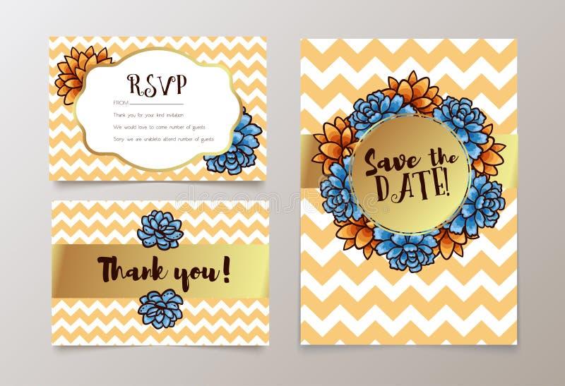 O cartão na moda com a planta carnuda para casamentos, salvar o convite da data, RSVP e agradece-lhe cartões ilustração royalty free