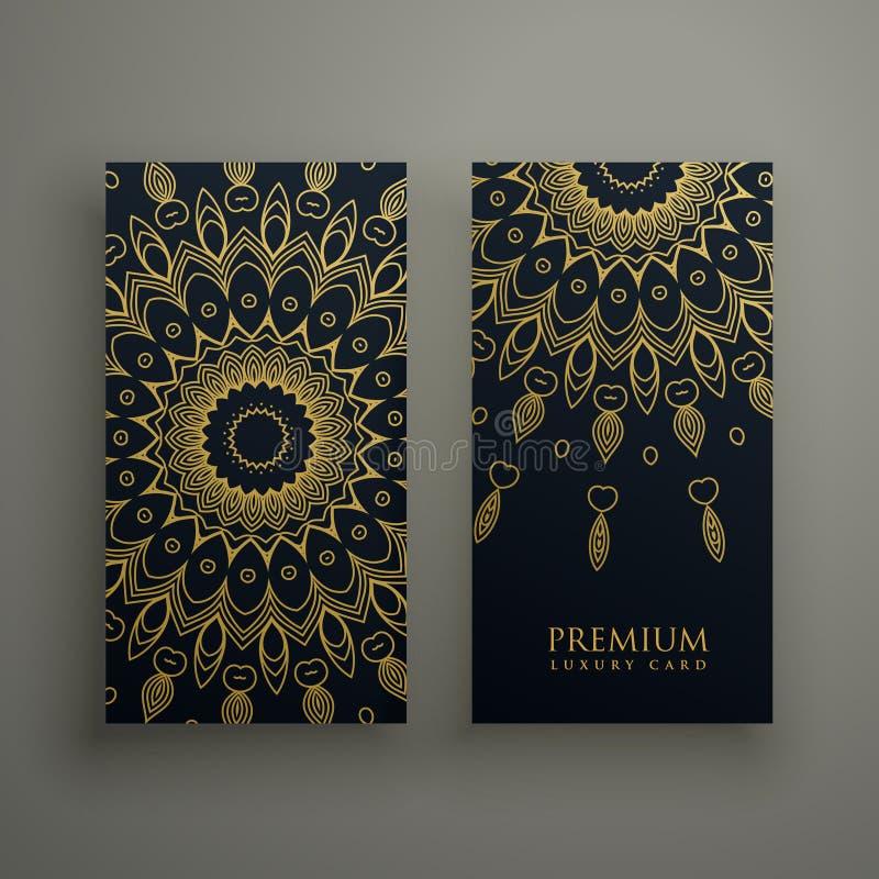 o cartão ou as bandeiras escuras da mandala projetam com a decoração decorativa dourada ilustração do vetor